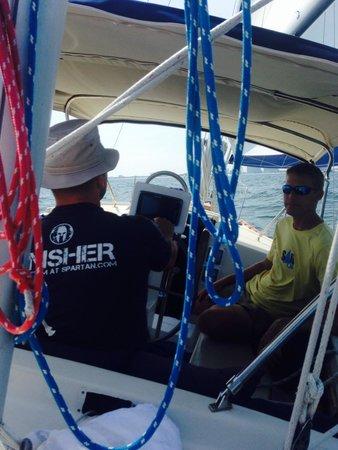 Orange Beach Sailing Charters and Sunset Cruises: The hubs took the wheel