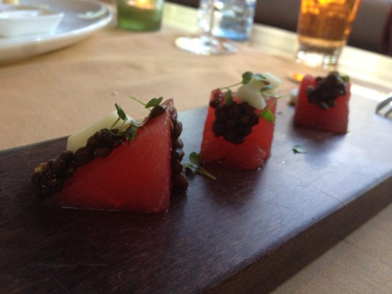 At Eight: Complimentary very very tasty starter or watermelon, lentils and cheese.