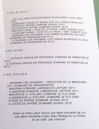 Restaurant La Pyramide: carte des vins du menu du marché