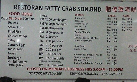 Fatty Crab Restaurant: 8 types of food