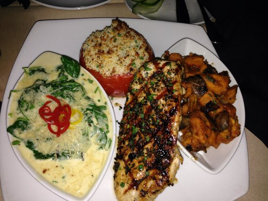 Grille 29: Tuscan chicken with sweet potato mash and creamed spinach. Yum!