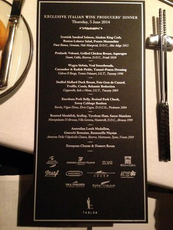 Grand Hyatt Erawan Bangkok: Wine Dinner at Tables Restaurant