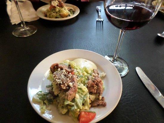 Pomodori Bistro & Wine Bar: Tri Tip Ensalad on Crostini with Aoli sauce.