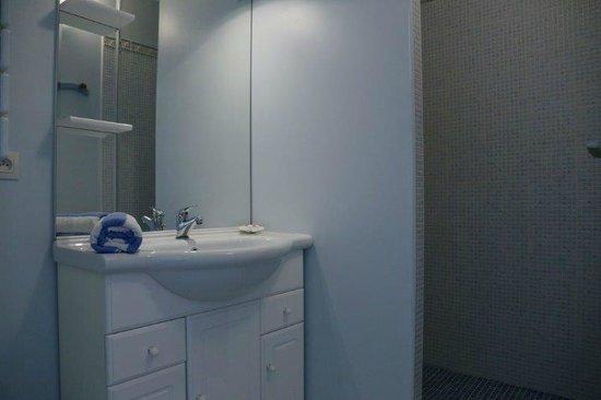 Hotel Residence Les Alizes : chambre - salle de bains et douche italienne
