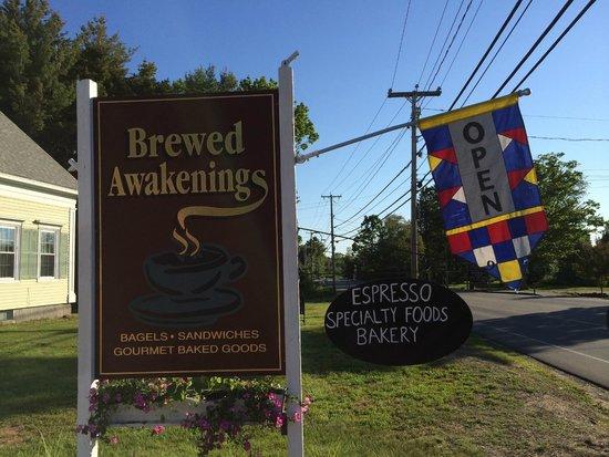 Brewed Awakenings road sign
