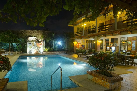 Apartotel La Sabana: The pool at night