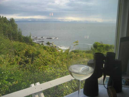 Point no Point: View of Strait of Juan de Fuca; Each table has binoculars