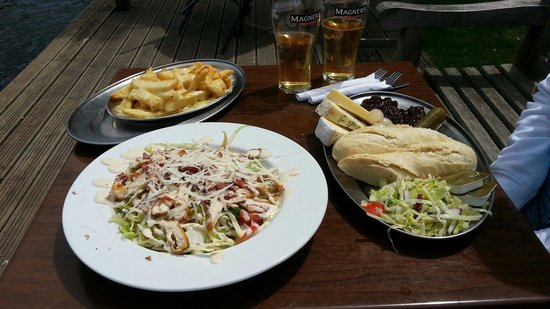 The Bounty: Caesar Salad, cheesy chips and mixed cheese ploughman's