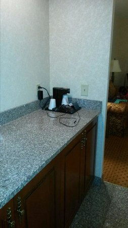 Drury Inn & Suites Baton Rouge: Bar with fig and microwave inside