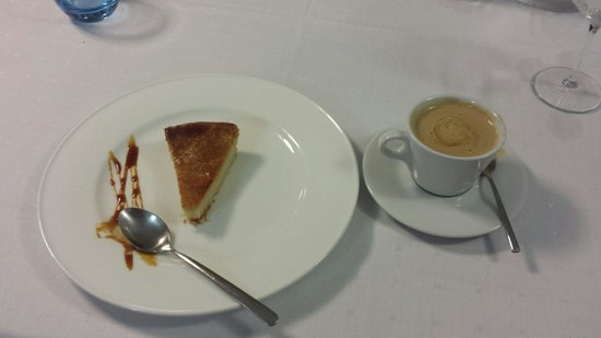 Meson Arropain Restaurante : Finally the Basque cake almond flavored and coffee.   I floated home well satisfied.