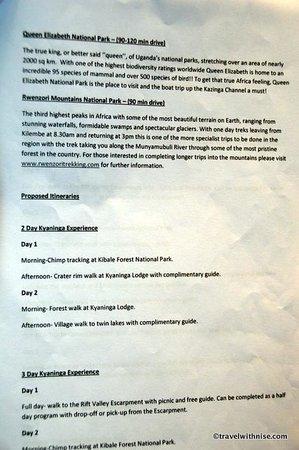 Kyaninga Lodge: Lodge Offerings Menu