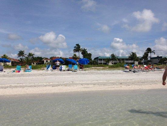 view of Sanibel Moorings from beach