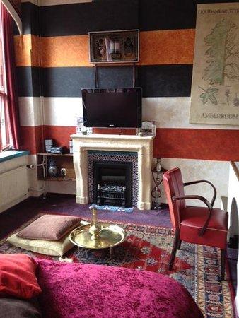 Hotel de Plataan: The fireplace & TV