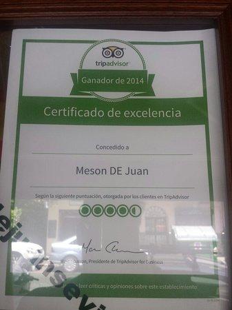 Meson de Juan : Recompensa de un año de trabajo. Gracias