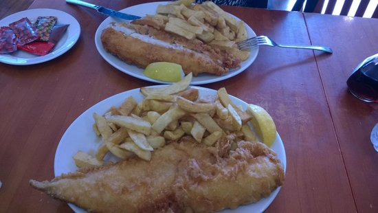 Papas Fish and Chips Restaurant: Cod & Chips ( far picture) & Haddock & Chips