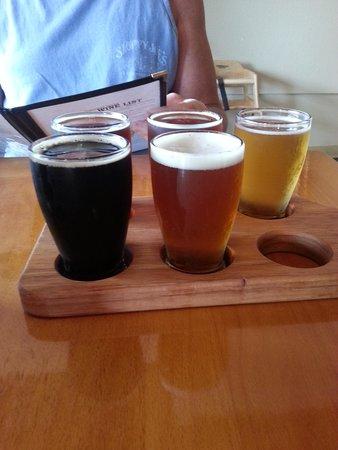 Pecan Street Brewing : Beer sampler.  The Chocolate Pecan Milk Stout was outstanding!