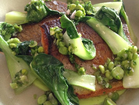 Rich Table: Trout with crushed peas and sake and almonds