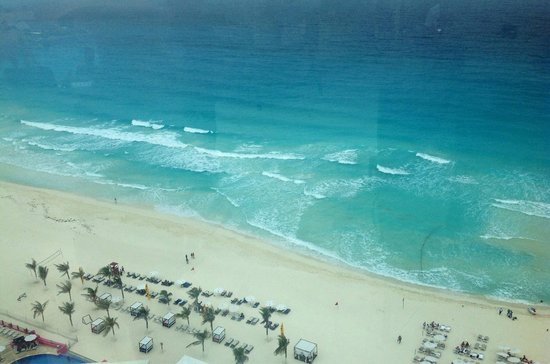 Beach Palace: View of beach from the sky bar