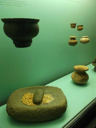 Museo del Oro Zenu : Cartagena, Colombia. Museo del Oro Zenú. Cerámicas y mortero en piedra.