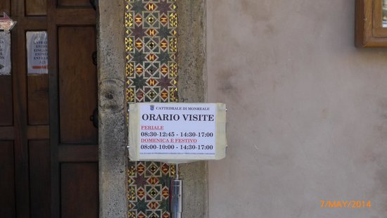 Duomo di Monreale: opening hours of the cathedral.