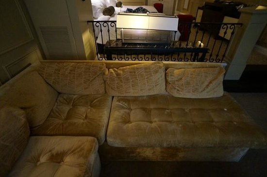 """The Venetian Las Vegas: I call it """"slouchy couch"""". It was all this way. And the light was bent to the side. Details."""