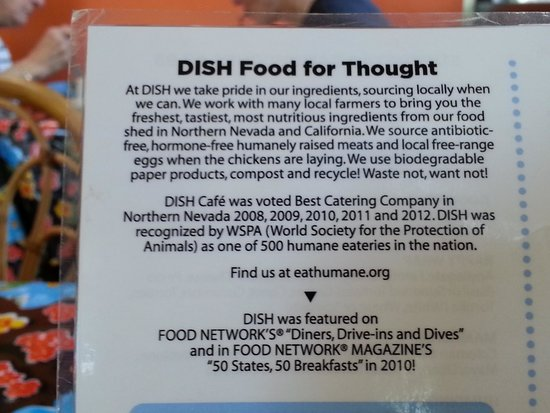 Dish Cafe : locally sourced, humanely raised