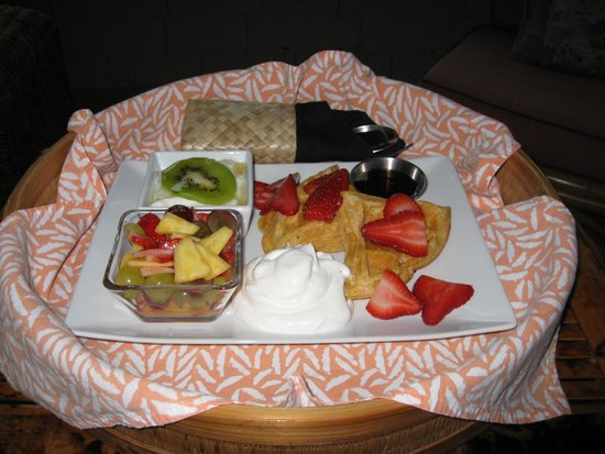 ASIA Bed and Breakfast Spa: Breakfast (Waffles w/ fresh fruit, fresh yogurt with honey and homemade whipped cream)