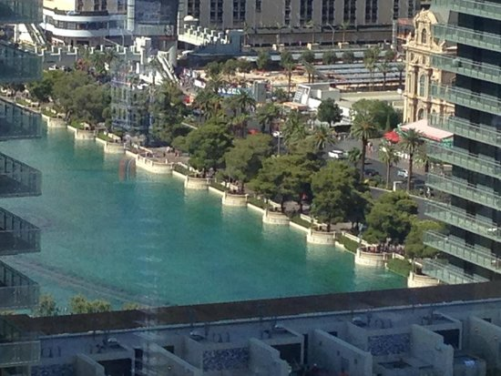 ARIA Resort & Casino: Bellagio Fountain View from Bathroom