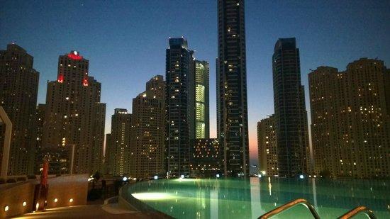 Address Dubai Marina: View from pool at sunset