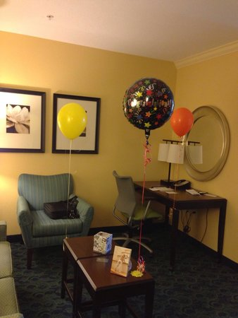 "SpringHill Suites West Palm Beach I-95 : Decorated by the hotel staff for my husband coming ""home"" from the hospital (where he was for ~2"