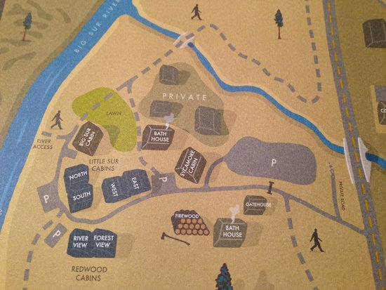 Map of cabin layout Picture of Glen Oaks Big Sur Big Sur