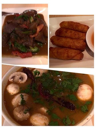 Star of Siam: Clock wise - basil eggplant, mini veggie egg rolls and Tom yum