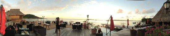 Overwater dining deck and panorama view of Bora Bora Yacht Club