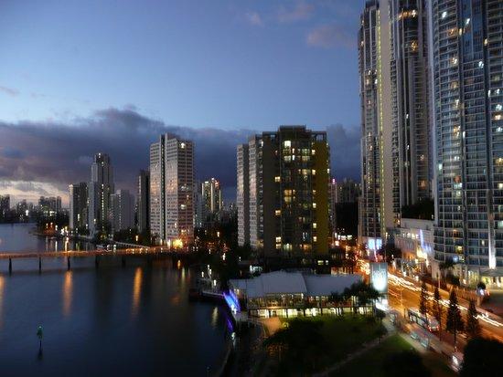 Moorings on Cavill Avenue: Night view from balcony