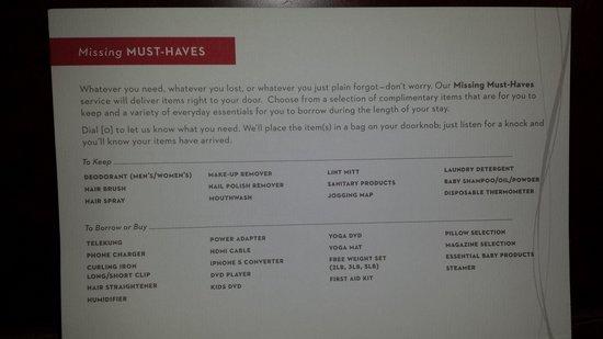 Grand Hyatt Kuala Lumpur: Basic essentials offered by hotel