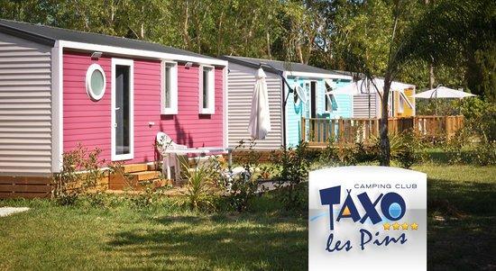 Camping Club Taxo les Pins : mobil-homes de couleurs