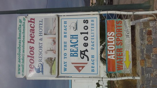 Aeolos Beach Resort Hotel: Sign on street