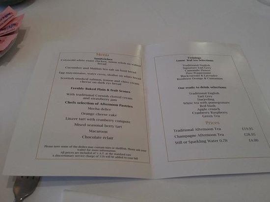 Harlequin Restaurant : The menu, in writing
