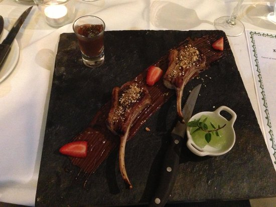 Sadie's at the Gloucester Motel: Lamb on chocolate sauce with mint froth and cherry spirit