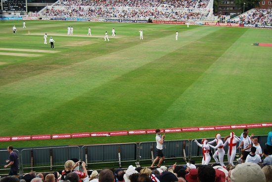 Trent Bridge Cricket Ground: English supporters in Morph Suits create a diversion from the play