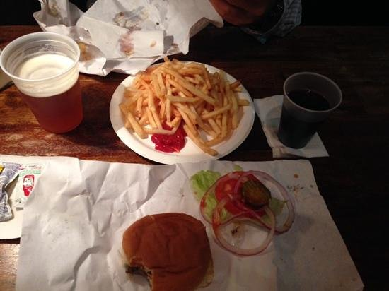 burger joint at Le Parker Meridien Hotel: burger, fries and red wine