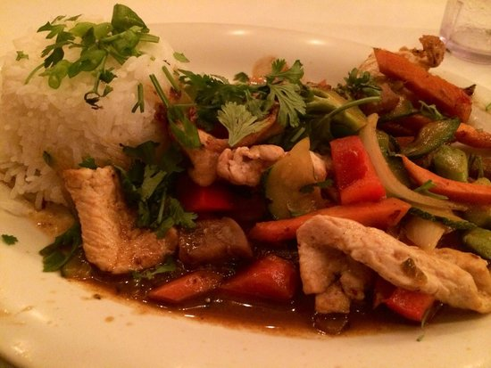 One-Ten Thai: PAD KING eggplant, ginger, broccoli, chinese black soy bean garlic sauce with Chicken.