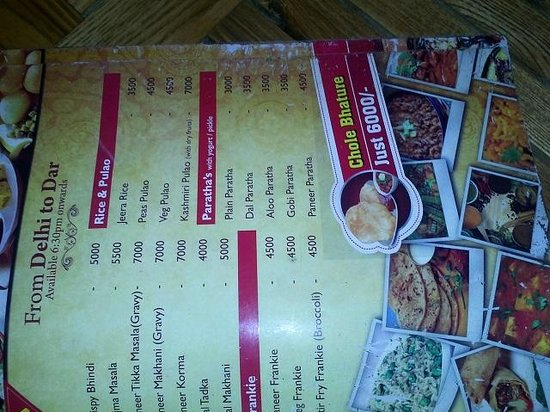 Chapan Bhog : menu