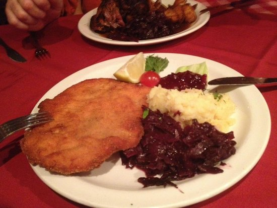 The Tiroler Hut Restaurant: Turkey schnitzel with potatoes & warm red cabbage