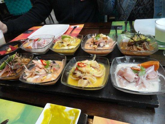 La Mar: Ceviches - degustación - clásico de pescado, mixto, nikei y atigrado