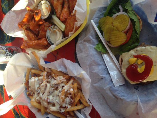 McConkey's Jungle Shack : Bacon cheese fries, wings and a burger!