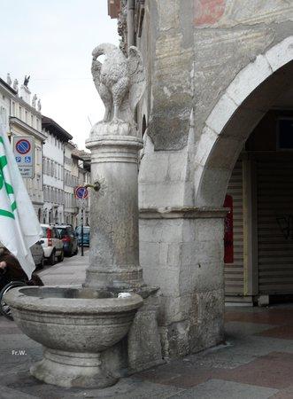 Fontein met Adelaar op een hoekje van de Piazza Duomo .