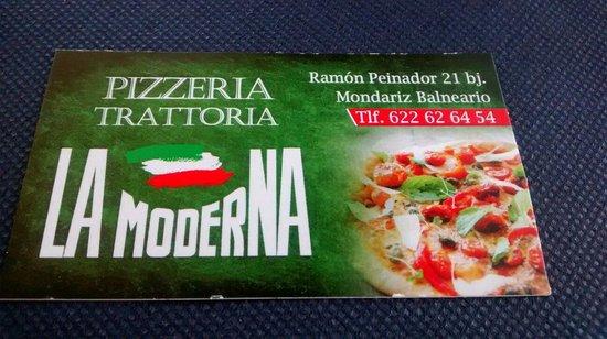 Pizzeria La Moderna: Tarjeta visita.