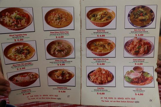 Menu picture of khmer kitchen restaurant siem reap for E kitchen american cambodia