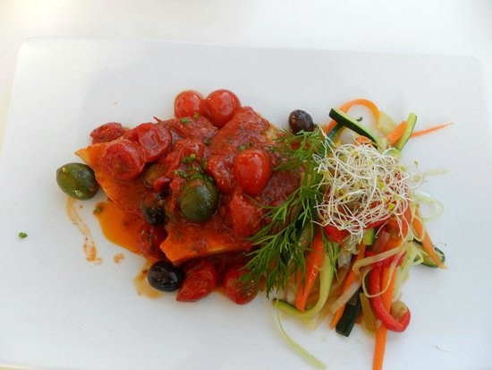 Bianco Restaurant: Schwertfisch mit Tomatengarnitur
